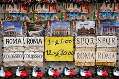 Magnets are displayed in a souvenir shop in downtown Rome, Italy February 1, 2017. Picture taken February 1, 2017. REUTERS/Tony Gentile