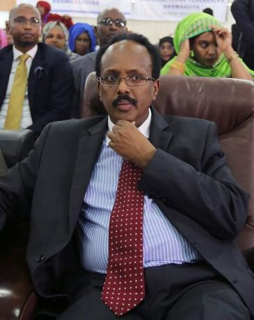 Somali Presidential candidate Minister Mohamed Abdullahi Farmajo follows the proceedings as lawmakers cast their ballot during the presidential vote at the airport in Somalia's capital Mogadishu, February 8, 2017. REUTERS/Feisal Omar