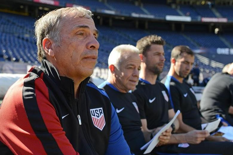 Jan 29, 2017; San Diego, CA, USA; United States head coach Bruce Arena (left) looks on before the game against the Serbia at Qualcomm Stadium. Mandatory Credit: Jake Roth-USA TODAY Sports