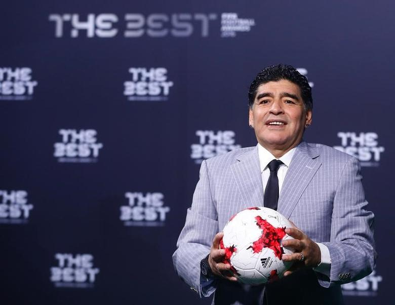 Football Soccer - FIFA Awards Ceremony - Zurich, Switzerland - 09/01/17.  Diego Armando Maradona arrives at the ceremony.  REUTERS/Arnd Wiegmann