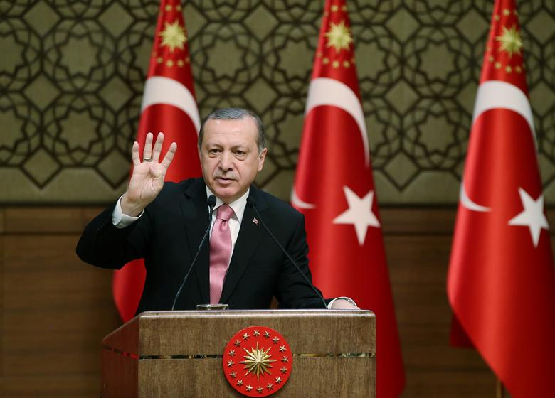 Turkish President Tayyip Erdogan makes a speech during his meeting with mukhtars at the Presidential Palace in Ankara, Turkey, February 8, 2017.   Yasin Bulbul/Presidential Palace/Handout via REUTERS