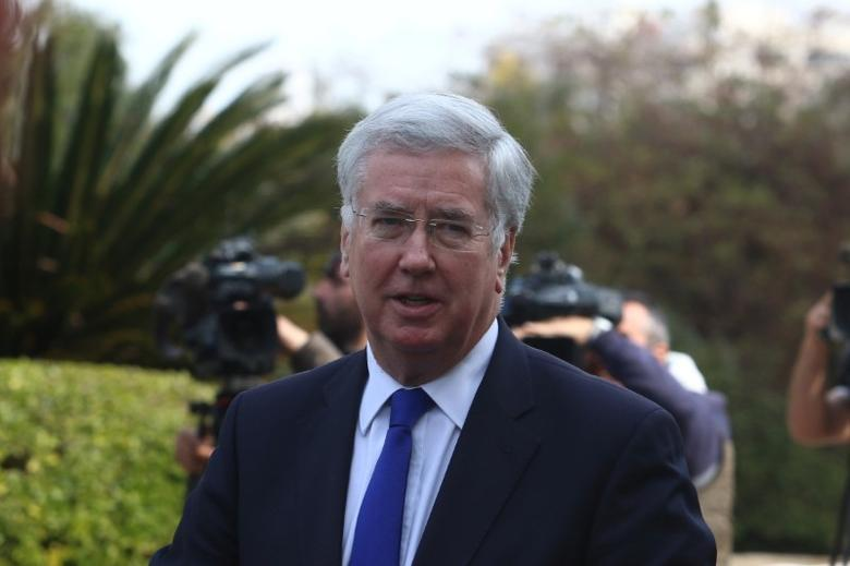 British Defence Secretary Michael Fallon arrives for a meeting with Cypriot President Nicos Anastasiades at the Presidential Palace in Nicosia, Cyprus February 10, 2017. REUTERS/Yiannis Kourtoglou