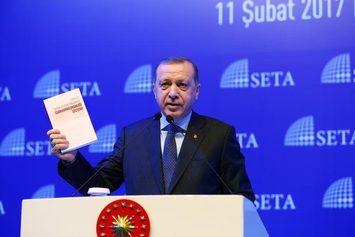 Turkish President Tayyip Erdogan makes a speech during a symposium on presidential system in Istanbul, Turkey, February 11, 2017. Kayhan Ozer/Presidential Palace/Handout via REUTERS