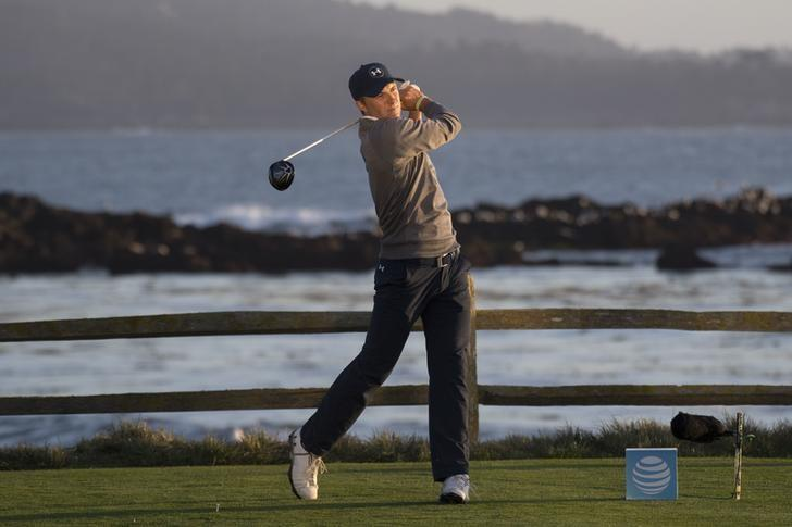 February 11, 2017; Pebble Beach, CA, USA; Jordan Spieth hits his tee shot on the 18th hole during the third round of the AT&T Pebble Beach Pro-Am golf tournament at Pebble Beach Golf Links. Mandatory Credit: Kyle Terada-USA TODAY Sports