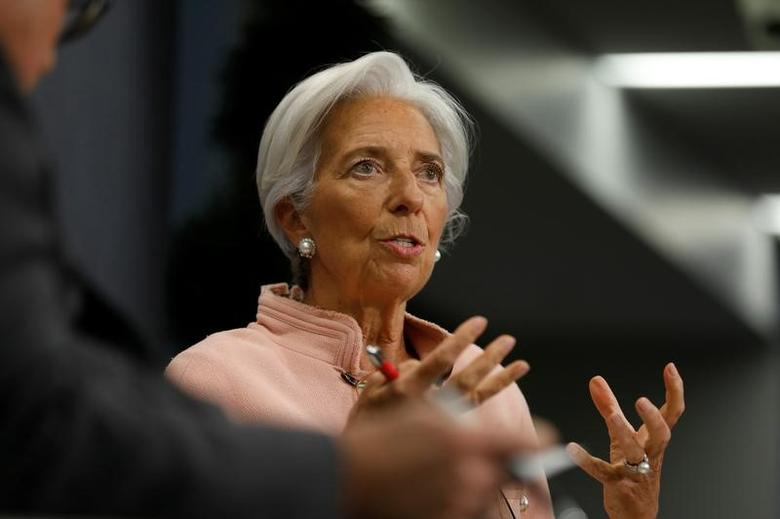 International Monetary Fund (IMF) Managing Director Christine Lagarde (R) participates in an onstage interview with Reuters Editor-at-Large Axel Threlfall (L) at the Atlantic Council in Washington, U.S., February 8, 2017. REUTERS/Jonathan Ernst