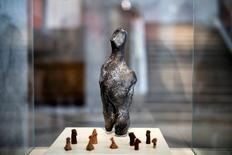 A 7000-year old Neolithic statuette is temporarily displayed at the National Archaeological Museum in Athens, Greece, February 10, 2017. REUTERS/Alkis Konstantinidis