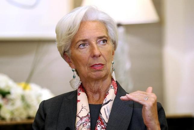 2月13日、IMFのラガルド専務理事がロイターのインタビューに応じた。写真はドバイで同日撮影(2017年 ロイター)