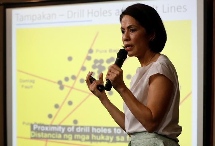 Philippine Environment Secretary Regina Lopez speaks in front of a chart on mining issues during a press briefing in Manila, Philippines February 9, 2017. Picture taken February 9, 2017. REUTERS/Erik De Castro