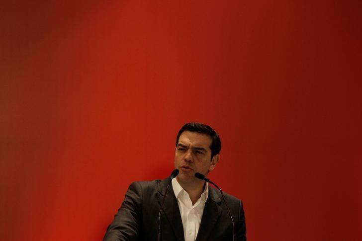 Greek Prime Minister Alexis Tsipras delivers a speech at the ruling Syriza party central committee in Athens, Greece February 11, 2017. REUTERS/Michalis Karagiannis