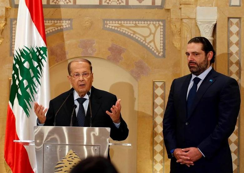 File photo: Christian politician and FPM founder Michel Aoun (L) talks during a news conference next to Lebanon's former prime minister Saad al-Hariri after he said he will back Aoun to become president in Beirut, Lebanon October 20, 2016. REUTERS/Mohamed Azakir