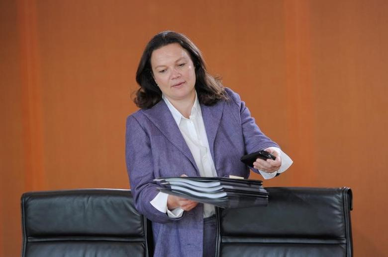 German Labour Minister Andrea Nahles attends a cabinet meeting at the Chancellery in Berlin, Germany September 21, 2016. REUTERS/Stefanie Loos