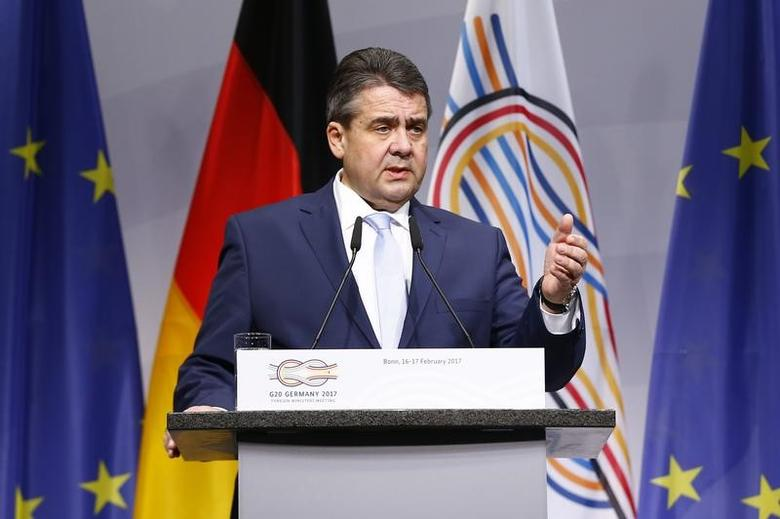 German Foreign Minister Sigmar Gabriel holds a press conference during the G-20 Foreign Ministers meeting in Bonn, Germany February 16, 2017. REUTERS/Thilo Schmuelgen