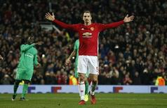 Manchester United's Zlatan Ibrahimovic celebrates scoring their third goal to complete his hat trick  Reuters / Andrew Yates Livepic