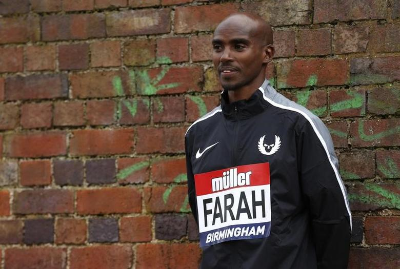 Britain Athletics - Birmingham Indoor Grand Prix Press Conference - Barclaycard Arena, Birmingham - 17/2/17 Great Britain's Mo Farah poses after the press conference Action Images via Reuters / Matthew Childs Livepic