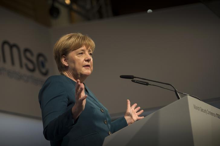 German Chancellor Angela Merkel speaks during the 53rd Munich Security Conference in Munich, Germany, February 18, 2017. Guido Bergmann/Bundesregierung/Handout via Reuters/Files