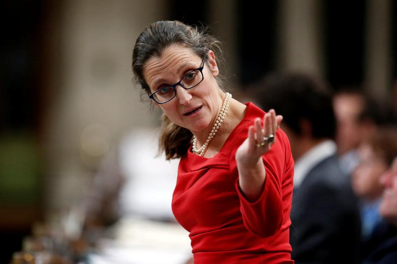 Canada's Foreign Minister Chrystia Freeland speaks during Question Period in the House of Commons on Parliament Hill in Ottawa, Ontario, Canada, January 31, 2017. REUTERS/Chris Wattie