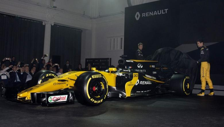 Britain Formula One - F1 - 2017 Renault Formula One Car Launch - The Lindley Hall, London - 21/2/17 Renault's Jolyon Palmer and Nico Hulkenberg unveil the new car Reuters / Alan Walter Livepic
