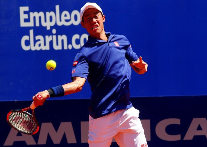 FILE PHOTO - Tennis - Argentina Open - Men's Singles' finals - Estadio Guillermo Vilas, Buenos Aires - 19/02/17  Kei Nishikori of Japan in action. REUTERS/Martin Acosta