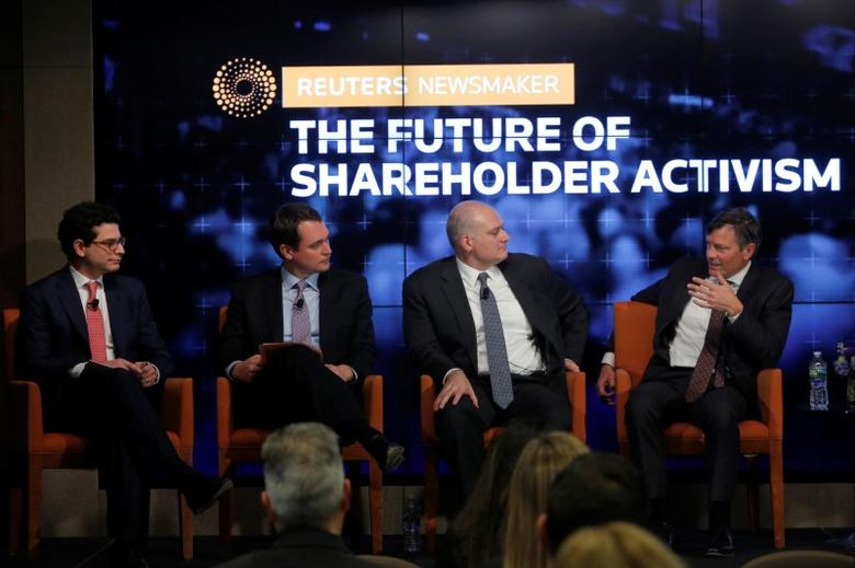 (L-R) Richard Brand, Partner at Cadwalader, Zach Oleksiuk, Head of Americas Investment Stewardship at BlackRock, Paul Hilal, founder and CEO of Mantle Ridge LP and Jeffrey Ubben, Founder & CEO at ValueAct Capital, speak during the Reuters Newsmaker event ''The Future of Shareholder Activism'' in Manhattan, New York, U.S., February 22, 2017.  REUTERS/Andrew Kelly