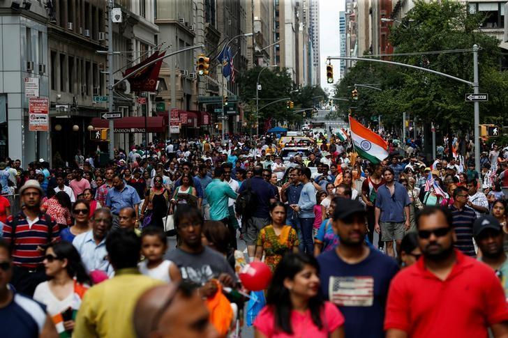 People take part in the annual India Day Parade in Manhattan, New York, U.S., August 21, 2016. REUTERS/Eduardo Munoz/File Photo