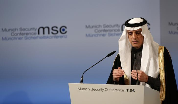 Saudi Arabia's Foreign Minister Adel al-Jubeir delivers his speech during the 53rd Munich Security Conference in Munich, Germany, February 19, 2017.   REUTERS/Michaela Rehle/Files