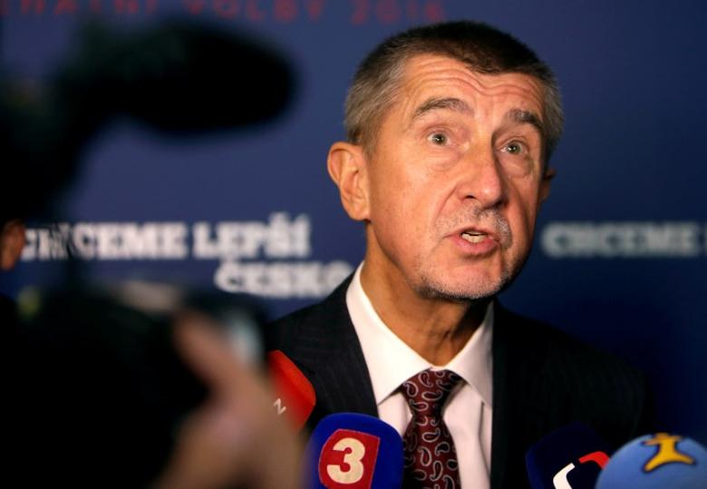 The leader of ANO party Andrej Babis answers questions from the media after the regional elections in Prague, Czech Republic, October 8, 2016.  REUTERS/David W Cerny/File Photo