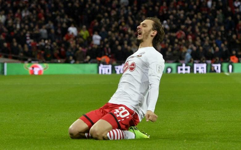 Britain Soccer Football - Southampton v Manchester United - EFL Cup Final - Wembley Stadium - 26/2/17 Southampton's Manolo Gabbiadini celebrates scoring their second goal Reuters / Hannah McKay Livepic