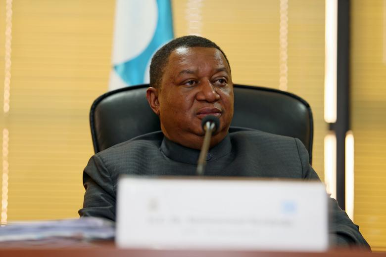 OPEC Secretary General Mohammed Barkindo speaks with the media during his visit to Abuja, Nigeria Febuary 27, 2017.REUTERS/Afolabi Sotunde