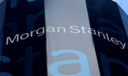 FILE PHOTO - The corporate logo of financial firm Morgan Stanley is pictured on the company's world headquarters in New York, New York, U.S. on January 20, 2015.    REUTERS/Mike Segar/File Photo
