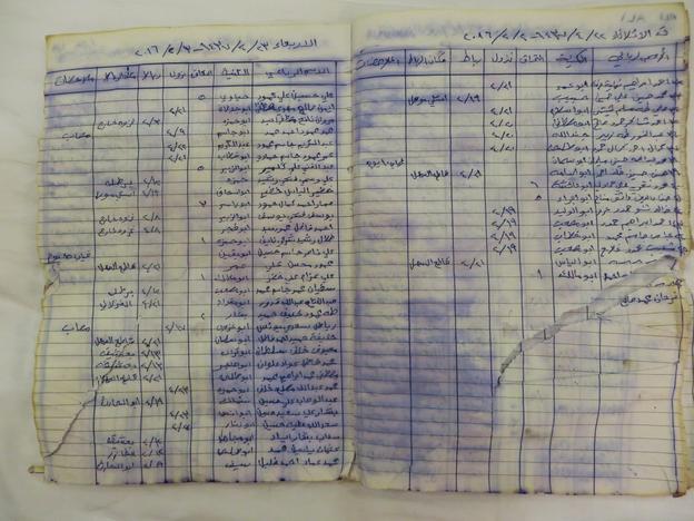 IS訓練施設に残されていた勤務シフトの日誌(2017年 ロイター/Alaa Al-Marjani)