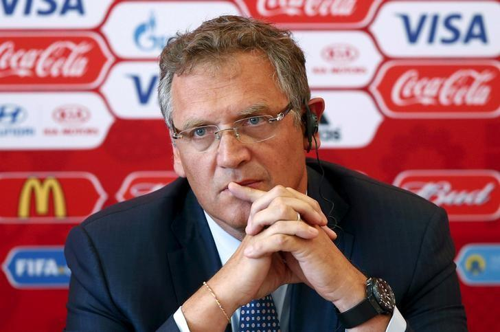 FIFA secretary general Jerome Valcke attends a news conference during his visit to Samara, one of the 2018 World Cup host cities, Russia, June 10, 2015. REUTERS/Maxim Zmeyev/Files