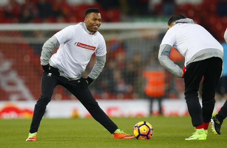 Britain Soccer Football - Liverpool v Tottenham Hotspur - Premier League - Anfield - 11/2/17 Liverpool's Daniel Sturridge warms up before the match  Reuters / Phil Noble Livepic
