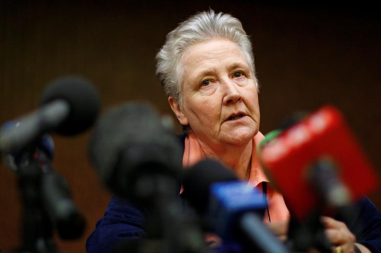 Irish abuse victim Marie Collins talks during a news conference in downtown Rome February 7, 2012. REUTERS/Tony Gentile/Files