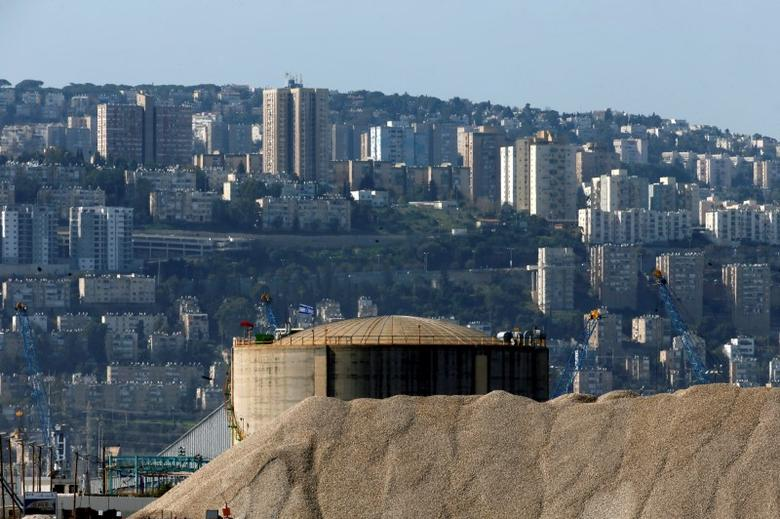 Haifa Chemicals' ammonia tank, Israel's largest ammonia tank, is seen in the Haifa bay area, Israel, February 26, 2017. REUTERS/Baz Ratner