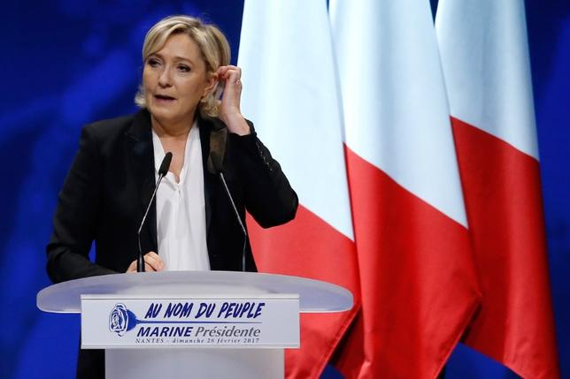 Marine Le Pen, French National Front (FN) political party leader and candidate for French 2017 presidential election, attends a political rally in Saint-Herblain near Nantes, France, February 26, 2017. REUTERS/Stephane Mahe