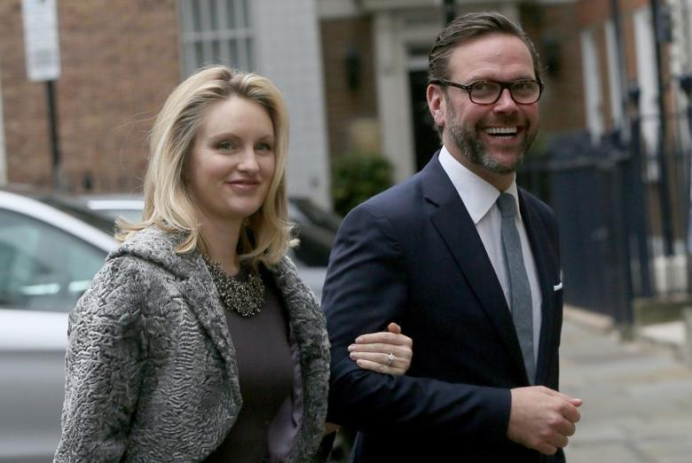 James Murdoch, the son of media mogul Rupert Murdoch, and his wife Kathryn Hufschmid   in London, Britain March 5, 2016. REUTERS/Neil Hall