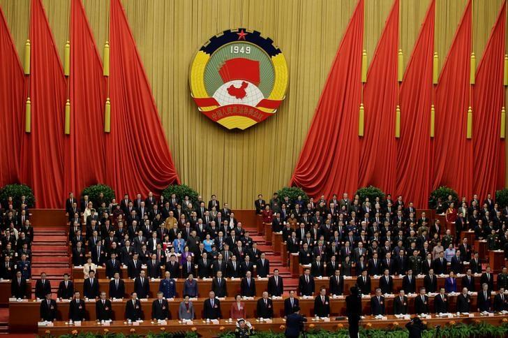 China's leaders sing the national anthem as they attend the opening session of the Chinese People's Political Consultative Conference (CPPCC) at the Great Hall of the People in Beijing, China, March 3, 2017. REUTERS/Jason Lee