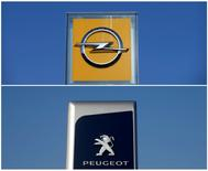 FILE PHOTO: A combination picture shows the logos of Opel and Peugeot car manufacturers at dealerships of the brands in Strasbourg, France, February 14, 2017. REUTERS/Vincent Kessler/File Photo