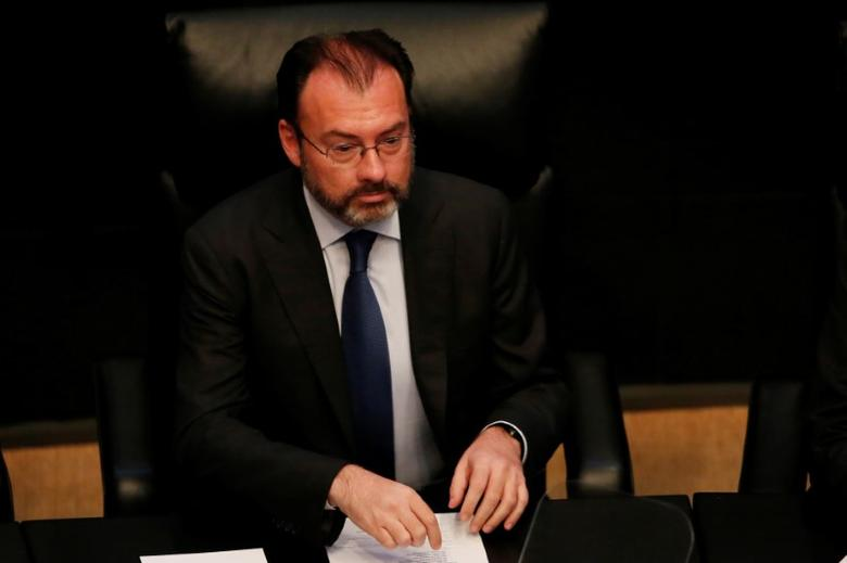 Mexico's Foreign Secretary Luis Videgaray talks to the Senate about the state of U.S.-Mexico relations in Mexico City, Mexico, February 28, 2017.  REUTERS/Carlos Jasso