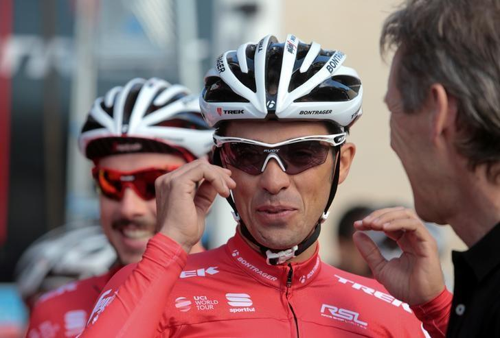 Trek Segafredo cyclist Alberto Contador of Spain gestures before taking part in a training session in El Arenal, on the Balearic island of Mallorca, Spain January 13, 2017. REUTERS/Enrique Calvo/Files