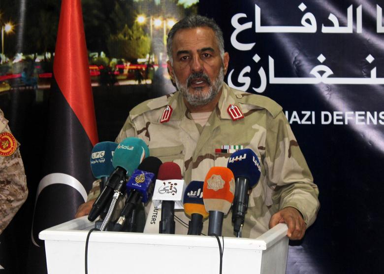 Benghazi Defence Brigades leader Mustafa al-Sharksi attends a news conference, Libya, March 6, 2017. REUTERS/Stringer