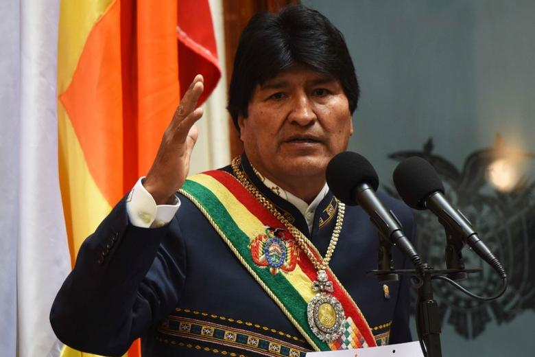 Bolivia's President Evo Morales speaks during a ceremony to mark 11 years of his administration during a session of congress in La Paz, Bolivia, January 22, 2017. Enzo De Luca/Courtesy of Bolivian Presidency/Handout via REUTERS