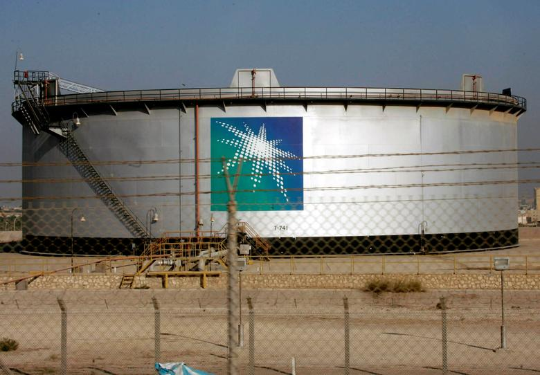 FILE PHOTO: An oil tank is seen at the Saudi Aramco headquarters during a media tour at Damam city November 11, 2007.   REUTERS/ Ali Jarekji/File Photo