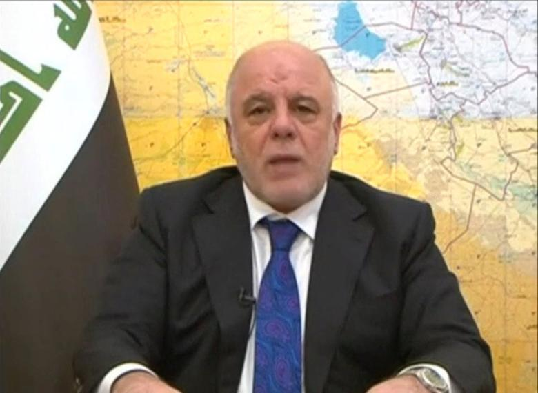 Iraq's Prime Minister Haider al-Abadi announces the start of an offensive to retake the western side of Mosul as troops begin to move towards Islamic State, in this still image from video by Iraqiya TV February 19, 2017.  Iraqiya TV/via Reuters TV