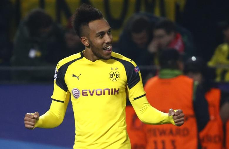 Football Soccer - Borussia Dortmund v Benfica - UEFA Champions League Round of 16 Second Leg - Signal Iduna Park, Dortmund, Germany - 8/3/17 Borussia Dortmund's Pierre-Emerick Aubameyang celebrates scoring their fourth goal and completing his hat trick  Reuters / Wolfgang Rattay Livepic