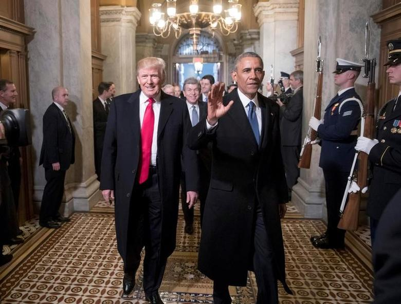 Donald Trump, left, and  Barack Obama arrive for Trump's inauguration ceremony at the Capitol in Washington, D.C., U.S. January 20, 2017. REUTERS/J. Scott Applewhite/Pool