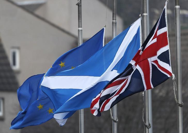 The Union flag, Scotland's Saltire and the European Union flag all fly from Scotland's Parliament building at Holyrood in Edinburgh, December 20, 2016. REUTERS/Russell Cheyne