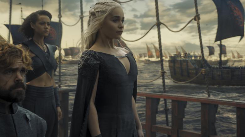 Peter Dinklage, Nathalie Emmanuel, Emilia Clarke in HBO's ''Game of Thrones''.    REUTERS/Courtesy of HBO