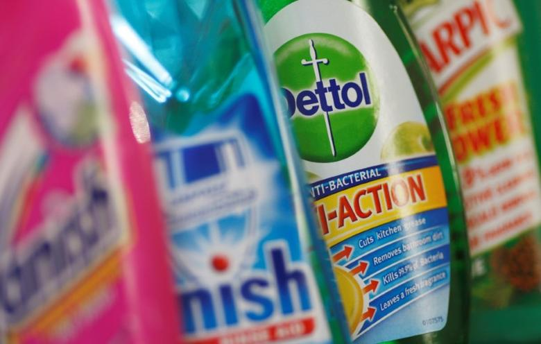Products produced by Reckitt Benckiser; Vanish, Finish, Dettol and Harpic, are seen in London February 12, 2008.   REUTERS/Stephen Hird/File Photo