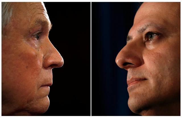 FILE PHOTO: A combination of file photos shows then-U.S. Sen. Jeff Sessions testifying at a Senate Judiciary Committee confirmation hearing in Washington, DC January 10, 2017 and United States Attorney Preet Bharara (R) speaking during a news conference in New York, July 25, 2013. REUTERS/Kevin Lamarque/Mike Segar/File Photo